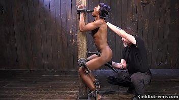 Ebony pussy vibed in strict bondage