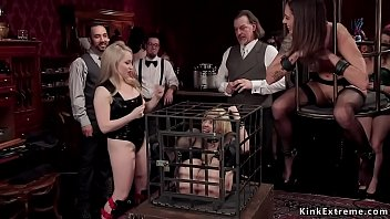 Caged sexy slaves in bdsm torment orgy
