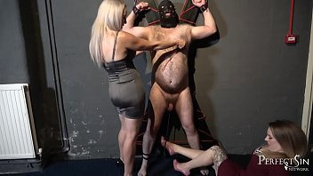 Swing For Mistresses' Feet - Balls Caning for Noisy Slave