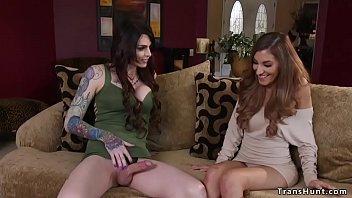 Big cock tranny fucks pretty brunette