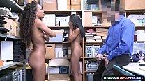 Officer destroys two shoplifter ebonys pussy