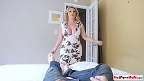 My chubby MILF stepmother surprised me with a blowjob 6 min