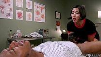 Asian dom doctor strokes black slaves dick