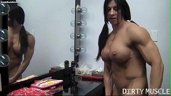 Naked Female Bodybuilder Angela Salvagno Rides A Huge Dildo