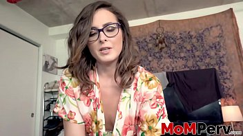 MILF with glasses rides her big cocked stepson on the bed 5 min