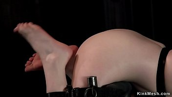 Pale brunette ass whipped in bdsm