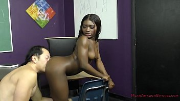 Sexy Black Student Blackmails Her Teacher - Noemie Bilas - Femdom 11 min