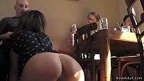 Public bar table sex in bondage