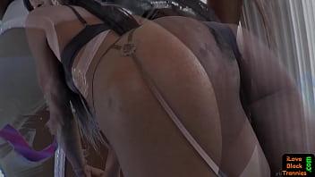 Ebony beauty strokes her hard dick 6 min