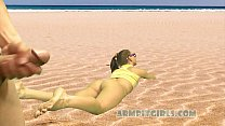 Blonde Beach Teen in Thong Panties Dick Flash and Armpit Worship