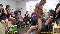 Classy office babes suck strippers cock during Happy Friday
