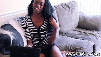 Slender black girlfriend pussy play