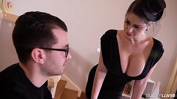 Busty lovers get to see hot widow Cathy Heaven titty fucked after