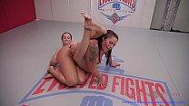 Cheyenne Jewel lesbian wrestling and strapon fucking Jasmeen Lefluer