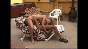 Superior blonde whore Avy Scott sucks dick and gets her pussy licked on the sun lounger