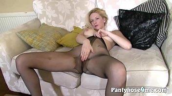 Blondie with big tits enjoying masturbation