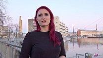 GERMAN SCOUT - Rothaarige Studentin Melina bei Strassen Casting fuer Geld gefickt