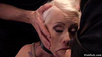 Blonde sub trainee blows big dick