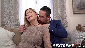Naughty granny fucked and facialized by y. stud