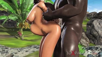 Anal sex on the jungle! Sweet schoolgirl dreams to have sex with a black man on a lost island