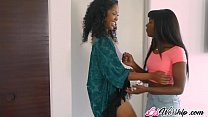 Hot ebony lesbian babes playing with teen