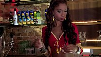 Ebony teen Katia Dé Lys gets her DP Salsa going with three fat cocks inside