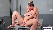Big tits lawyer makes her client squirt