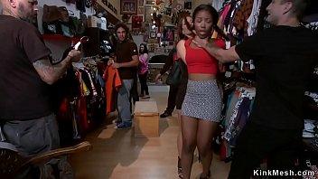 Ebony fucked for public in vintage shop 5 min