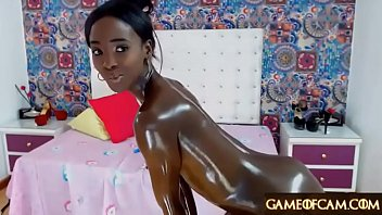 Jaw-dropping shining oily ebony college girl masturbates and squirts