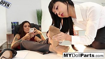 Kayla Jane makes her employee Marica worship her feet
