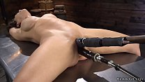Shaved pussy Milf takes machine in bdsm