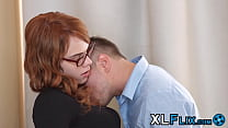 Nerdy redhead drilled in all her holes and sprayed with cum 7 min