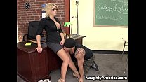 Naughty America - Find Your Fantasy Professor Brooke Haven fucking in the chair with her tattoos