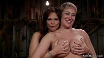 Farmer Milf whips ass to tied lesbian