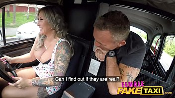 Female Fake Taxi Passenger is fascinated by her big boobs