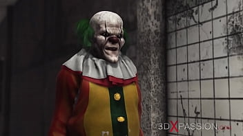 Evil clown plays with a sweet horny schoolgirl in an abandoned hospital