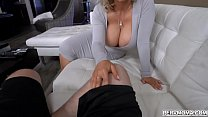 Blonde busty MILF Casca Akashova get down and dirty while giving her handsome stepson a sloppy blowjob.
