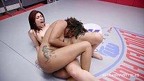 Daisy Ducati lesbian wrestling Ashlee Juliet fingering her hard
