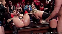 Two hot slaves suck and fuck in orgy
