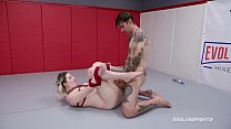 Newcomer Riley Daniels tied and fucked in nude wrestling match