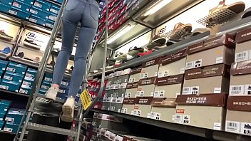 Store worker tight jeans booty