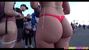 Big Ass Red Bikini Blonde Raver Girl Spied With Hidden Cam