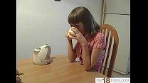 Schoolgirl Play Pussy Dildo During the Morning Breakfast