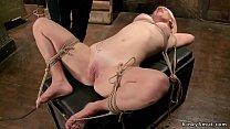Blonde slave in strict rope bondage
