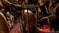 Blonde slaves in cages fucked in party