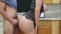 Big ass housewife with massive milk jugs is having casual sex with her step- son