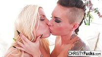 Hot Christy Mack in fishnets eat eachother out to completion