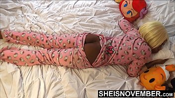 HD While His StepDaughter Slept.  Pervert Step Dad Sneaking Into Msnovember Bedroom While Her Mom Slept. For A Quick Jerk Session Playing With Her BlackAss & Blackpussy , And Point Of View blowjob On Sheisnovember