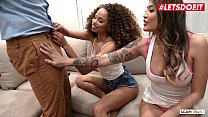 LETSDOEIT - Cheating Husband Bangs On His House With An Ebony Girl And Her BFF (Cecilia Lion & Brenna Sparks)