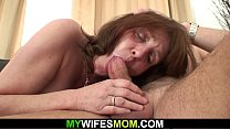 Busty m. inlaw to suck and ride his cock